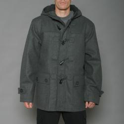 Imperious Men's Charcoal Grey Wool-blend Faux Shearling Hooded Toggle Coat