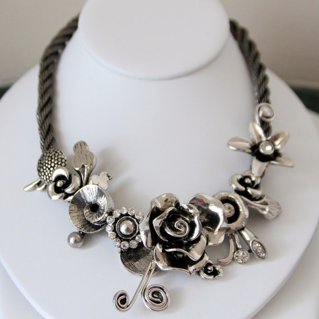 Pearls Plus Silvertone Crystal Leaves and Flowers Necklace