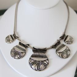 Silvertone Five-Disc Fashion Necklace