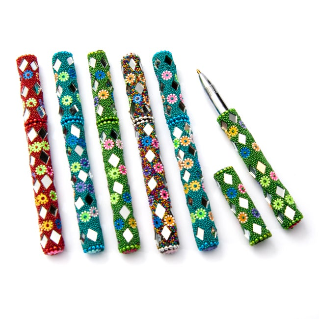 Set of Six (6) Beaded and Mirrored Ink Writing Pens (India)