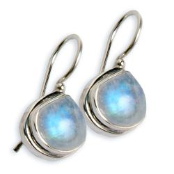 Sterling Silver Rainbow Moonstone Earrings (India)