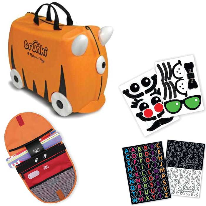 Melissa and Doug Trunki Kids Carry-On Luggage Orange/Saddle Bag/Sticker Set