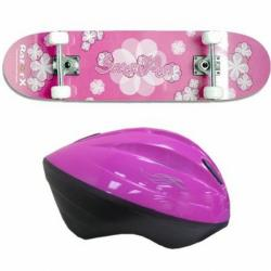 Razor X Sweet Pea Skateboard With V10 Youth Helmet Pink Kit