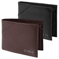 Guess Men's Textured Bi-Fold Passcase Wallet