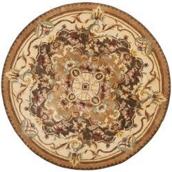 Handmade Aubusson Creteil Brown/ Beige Wool Rug (3'6 Round)