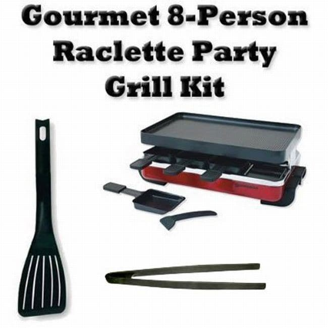 Swissmar Electric Indoor 8-person Red Classic Raclette Party Grill Kit
