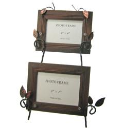 Twigs and Leaves Metal Easel Double Photo Frame