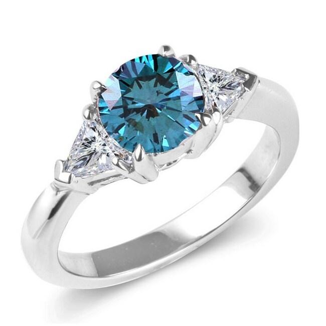14k White Gold 1 3/4ct TDW Blue and White Diamond Ring (G-H, I1-I2)