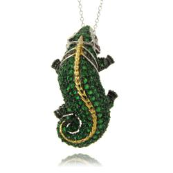 Dolce Giavonna Silvertone Multi-colored Cubic Zirconia Lizard Necklace