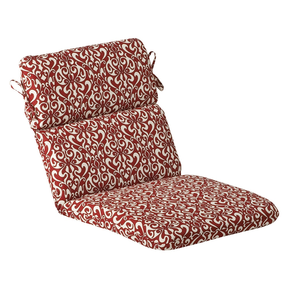 Pillow Perfect Outdoor Red White Damask Rounded Chair