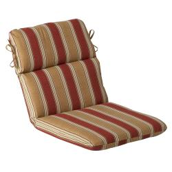 Pillow Perfect Outdoor Red/ Gold Striped Round Chair Cushion