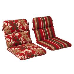 Pillow Perfect Outdoor Red/ Brown Reversible Chair Cushion