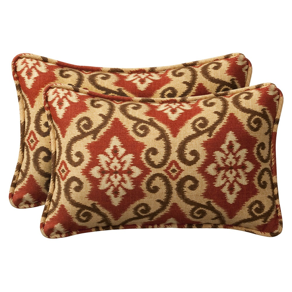 Pillow Perfect Decorative Red/ Tan Damask Outdoor Toss Pillows (Set of 2)