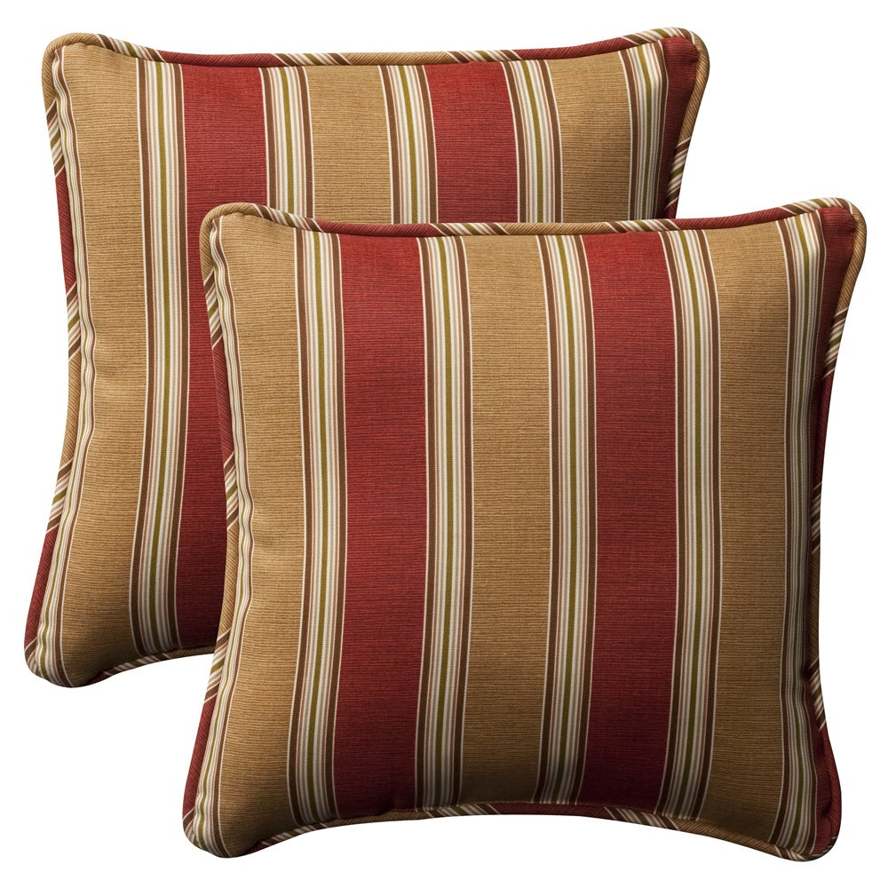 Pillow Perfect Outdoor Red Gold Striped Toss Pillows