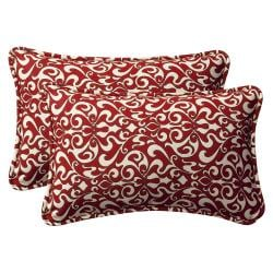 Pillow Perfect Decorative Red/ White Damask Outdoor Toss Pillows (Set of 2)