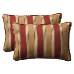 Pillow Perfect Decorative Red/ Gold Striped Outdoor Toss Pillows (Set of 2)
