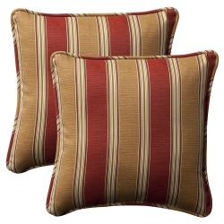 Pillow Perfect Outdoor Red/Gold Striped Toss Pillows Square - Set of 2