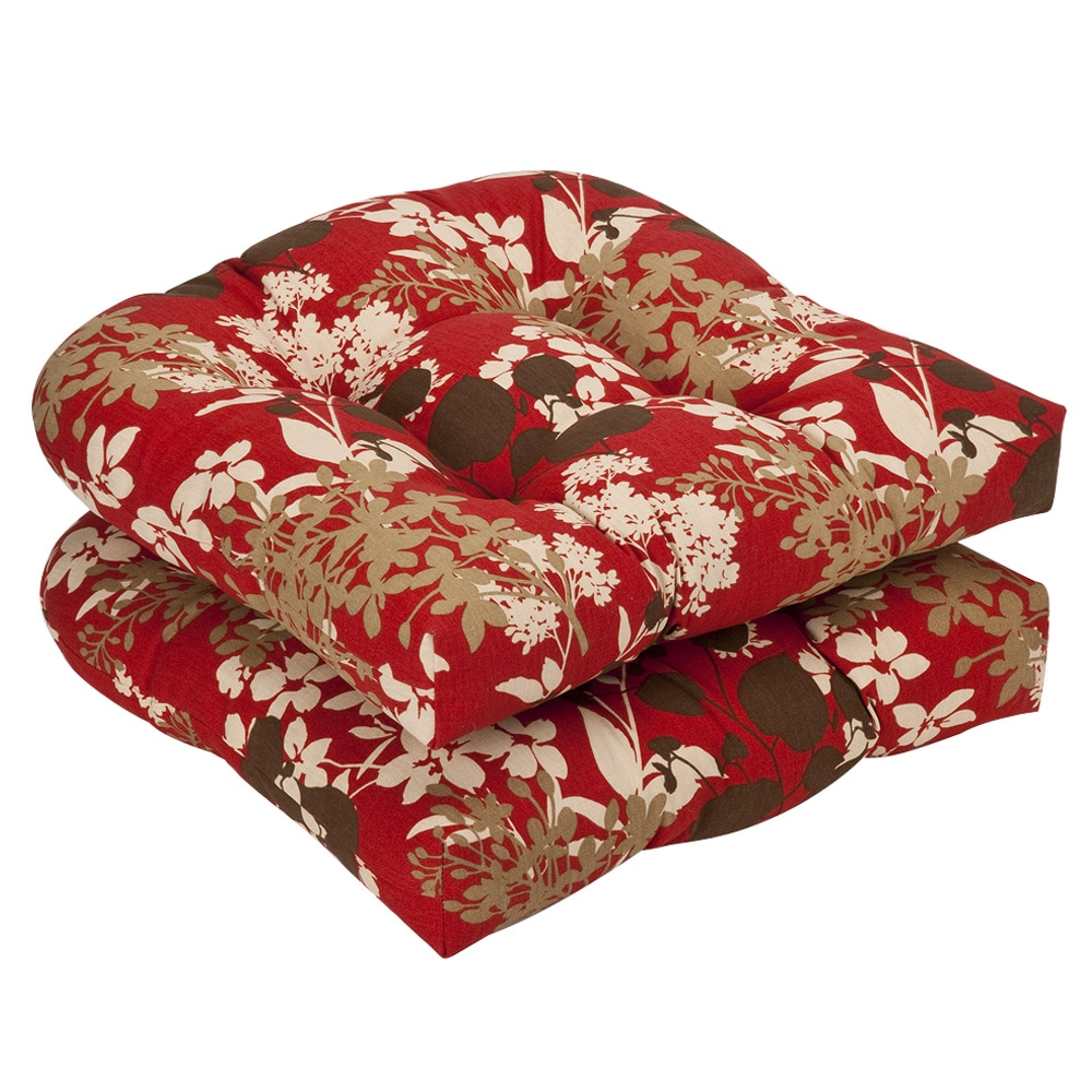 Pillow Perfect Outdoor Red/ Brown Floral Seat Cushions (Set of 2)