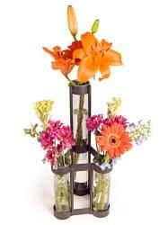 Two-level Rustic Iron Triple Tube Vase