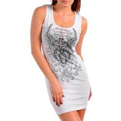 Stanzino Women's White Graphic Print Casual Party Dress