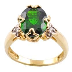 Michael Valitutti 14k Gold Chrome Diopside and Diamond Accent Ring