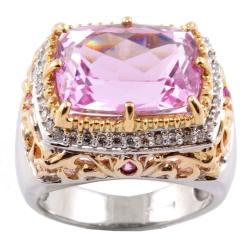 Michael Valitutti 14k Gold Kunzite, Sapphire and 1/4ct TDW Diamond Ring (I-J, I1-I2)