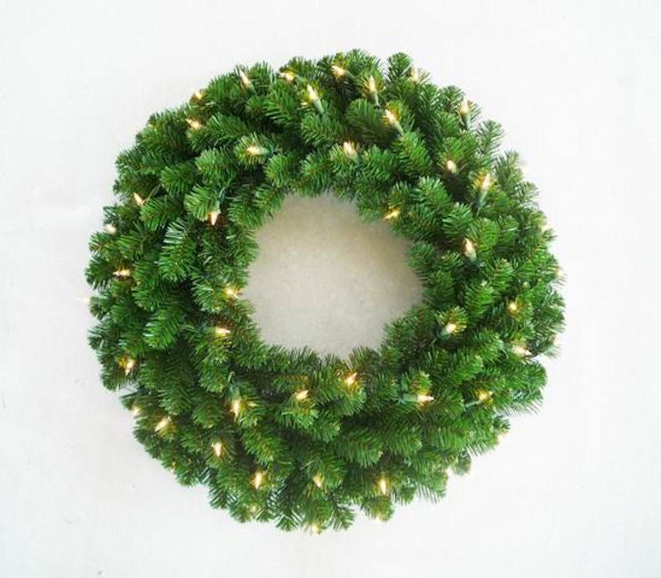 Deluxe Valley Pine 24-inch Pre-Lit Artificial Wreath