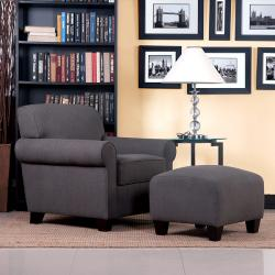 Portfolio Mira Smoky Brown Linen Transitional Arm Chair and Ottoman