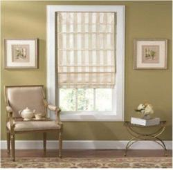 Cordless Off-white Striped Fabric Roman Shade (36in x 72in)
