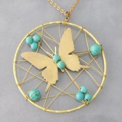 Goldtone Turquoise Accent Butterfly Mesh Necklace (Thailand)