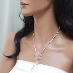 Rose Quartz Silk Thread Flower Necklace (3-5 mm)(Thailand)