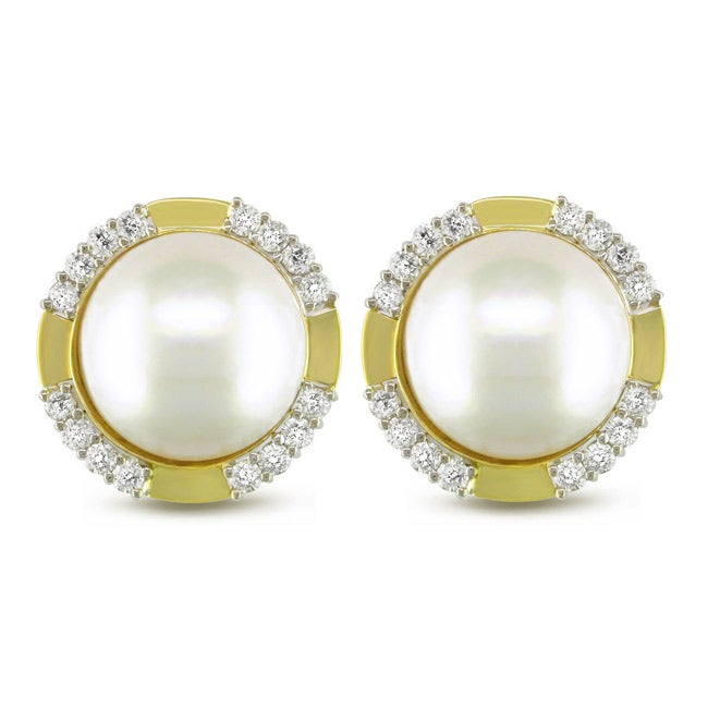 Miadora 18k Gold Mabe Pearl and 1 3/5ct TDW Diamond Earrings (G-H, SI1-SI2) (16 mm)