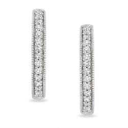 Miadora  14k White Gold 1/4ct TDW Diamond Hoop Earrings (G-H, SI1-SI2)