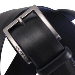 Nautica Men's Domed Feather Edge Genuine Leather Belt