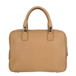 Versace Beige Leather Perforated Satchel