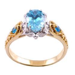 Michael Valitutti 14k Two-tone Blue CZ, Paraiba Apatite and Diamond Ring