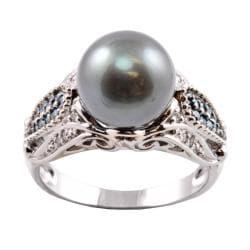 Michael Valitutti 14k Gold Tahitian Pearl and 1/4ct TDW Diamond Ring (10-10.5 mm) (I-J, I1-I2)