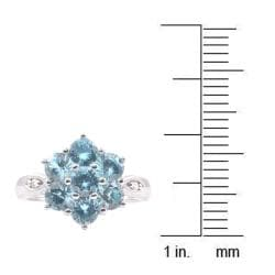 Michael Valitutti 14k White Gold Blue Cubic Zirconia and Diamond Ring