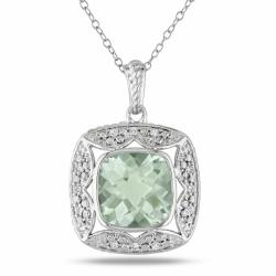 Miadora Sterling Silver Green Amethyst and 1/10ct TDW Diamond Necklace (G-H, I3)