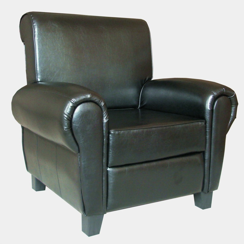 black leather accent recliner club chair 13944595