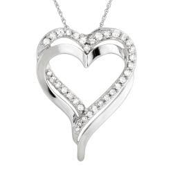 10K White Gold 1/2ct TDW Diamond Heart Necklace (H-I, I2-I3)