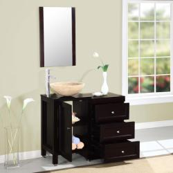 Silkroad Exclusive 37-inch Modern Bathroom Stone Vessel Vanity