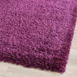 Cozy Solid Purple Shag Rug (3' x 5')