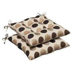 Pillow Perfect Outdoor Brown/ Beige Polka Dot Tufted Seat Cushions with Sunbrella Fabric (Set of 2)