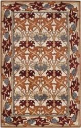Hand-tufted Ivory/Orange Novelty Toulouse New Zealand Wool Rug (8' x 11')