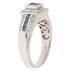 D'Yach 14k White Gold 4/5ct TDW Blue and White Diamond Ring (G-H, I1-I2)