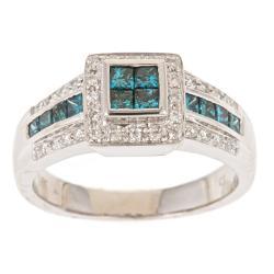 D'Yach 14k White Gold 4/5ct TDW Blue and White Diamond Ring (G-H, I1-I2)