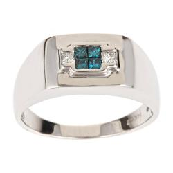 D'Yach 14k White Gold Men's 3/8ct TDW Blue and White Diamond Ring (H-I, I1-I2)