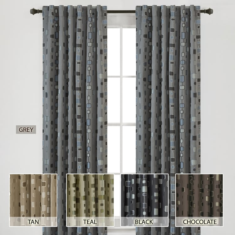 Madison Park Modern Squares Energy Saving 95-inch Curtain Panel
