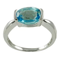 Gems For You Sterling Silver Blue Topaz Solitaire Ring